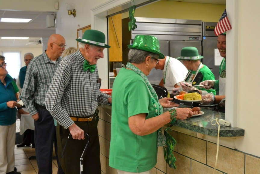 The kitchen crew was ready for the many who came to enjoy the St. Pat's Dinner at VFW Calabash Post #7288 and feasted on corned beef, cabbage, potatoes, and jumbo carrots.  Green ice cream and Irish Coffee were also available.