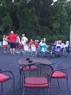 Participants in the VFW Calabash Post #7288 Independence Day Celebration waiting for the Calabash, NC fireworks display to start, July 4th, 2018.