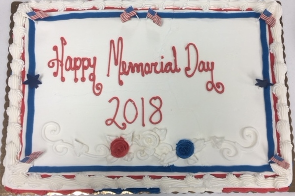 In addition to hotdogs and chips, the Auxiliary provided cake for the attendees of the Memorial Day Observance.