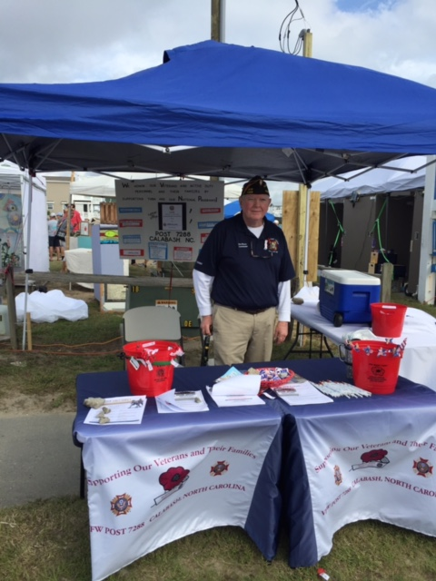 Post Commander, Dan Kossler, at the VFW Calabash Post #7288 Information Booth at the 2018 Oyster Festival.
